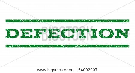 Defection watermark stamp. Text caption between horizontal parallel lines with grunge design style. Rubber seal green stamp with unclean texture. Vector ink imprint on a white background.