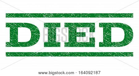 Died watermark stamp. Text tag between horizontal parallel lines with grunge design style. Rubber seal green stamp with dust texture. Vector ink imprint on a white background.