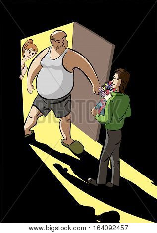 Young man meet father of his girlfrend. vector illustration