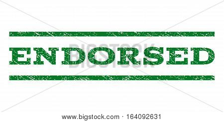 Endorsed watermark stamp. Text tag between horizontal parallel lines with grunge design style. Rubber seal green stamp with dust texture. Vector ink imprint on a white background.
