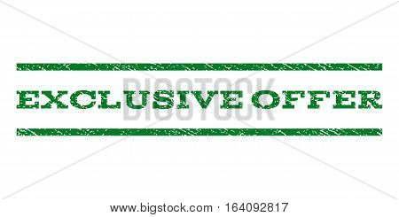 Exclusive Offer watermark stamp. Text tag between horizontal parallel lines with grunge design style. Rubber seal green stamp with dust texture. Vector ink imprint on a white background.