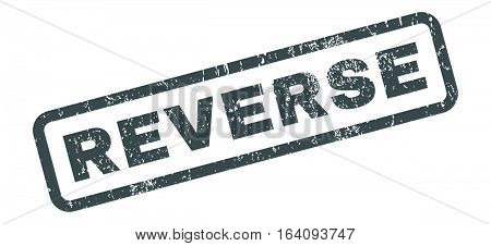 Reverse text rubber seal stamp watermark. Tag inside rectangular banner with grunge design and dirty texture. Slanted glyph soft blue ink emblem on a white background.