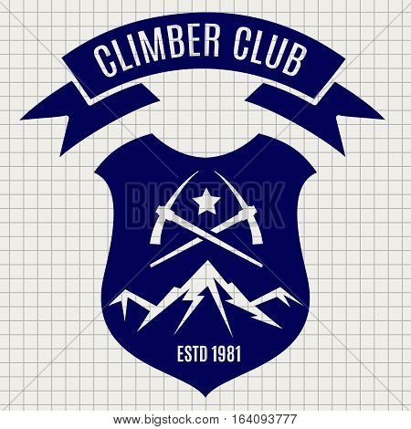 Climber club badge design vector illustration. Retro style mountain travel label