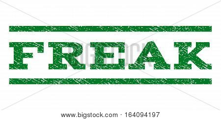 Freak watermark stamp. Text tag between horizontal parallel lines with grunge design style. Rubber seal green stamp with scratched texture. Vector ink imprint on a white background.