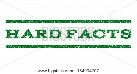 Hard Facts watermark stamp. Text tag between horizontal parallel lines with grunge design style. Rubber seal green stamp with dust texture. Vector ink imprint on a white background.