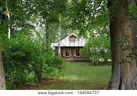 TARKHANI RUSSIA - AUGUST 28 2016: TARKHANI RUSSIA - AUGUST 28 2016: Wooden steward house in Lermontov estate. State Lermontov Museum-Reserve Tarkhany