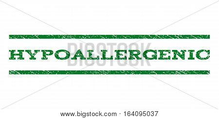 Hypoallergenic watermark stamp. Text tag between horizontal parallel lines with grunge design style. Rubber seal green stamp with scratched texture. Vector ink imprint on a white background.