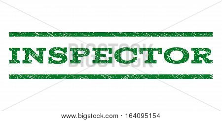 Inspector watermark stamp. Text caption between horizontal parallel lines with grunge design style. Rubber seal green stamp with scratched texture. Vector ink imprint on a white background.