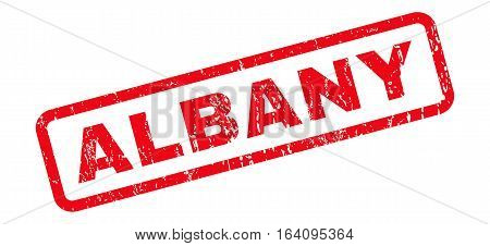 Albany text rubber seal stamp watermark. Caption inside rounded rectangular banner with grunge design and unclean texture. Slanted glyph red ink sign on a white background.