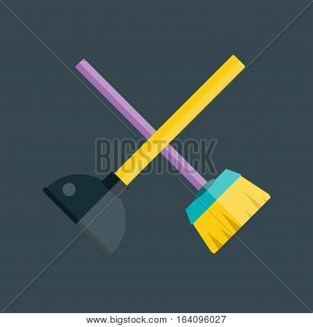 Toilet plunger bathroom equipment fix solution flat icon vector illustration. Housework sanitary handle brush cleaner drain work plumbing tool.