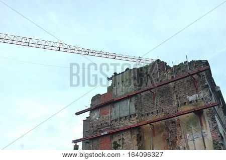 Construction of an old building in Ghent, Belgium