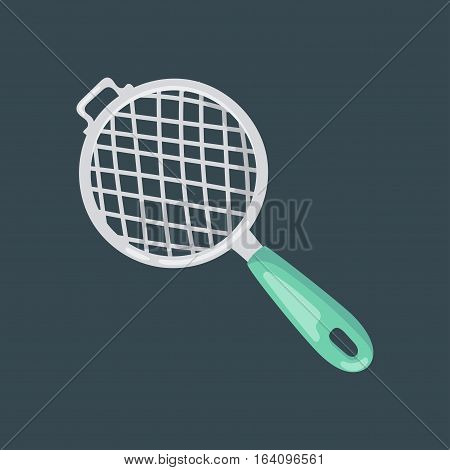 Empty silver colander kitchenware with blue handle. Household shiny separation accessory. Stainless utensil kitchen equipment flat vector illustration.