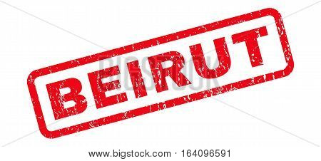 Beirut text rubber seal stamp watermark. Tag inside rounded rectangular shape with grunge design and scratched texture. Slanted glyph red ink sign on a white background.