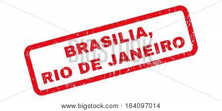 Brasilia Rio De Janeiro text rubber seal stamp watermark. Caption inside rounded rectangular shape with grunge design and dust texture. Slanted glyph red ink emblem on a white background.