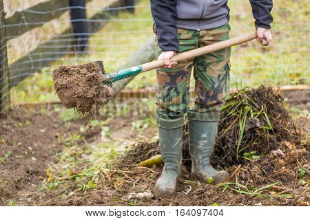 Man Digging With Spade In Garden