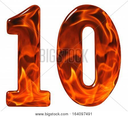 10, Ten, Numeral From Glass With An Abstract Pattern Of A Flaming Fire, Isolated On White Background