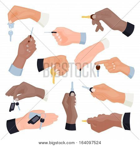 Vector rental or sale concept in flat style hand holding car key. Security apartment people giving. Residential service unlock property open business sign.