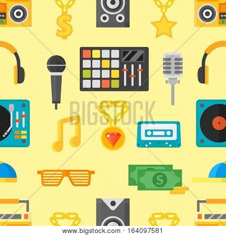 Seamless pattern with music icons vector illustration. Microphone cartoon rock melody illustration. Art silhouette graphic audio instrument background.