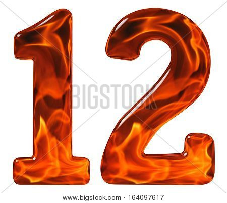 12, Twelve, Numeral From Glass With An Abstract Pattern Of A Flaming Fire, Isolated On White Backgro
