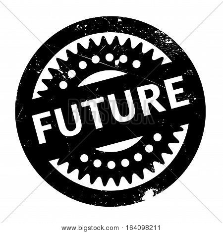 Future rubber stamp. Grunge design with dust scratches. Effects can be easily removed for a clean, crisp look. Color is easily changed.