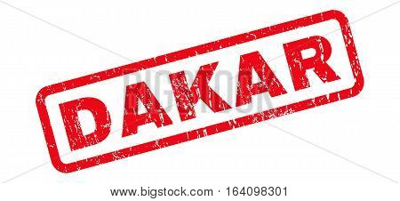 Dakar text rubber seal stamp watermark. Tag inside rounded rectangular banner with grunge design and unclean texture. Slanted glyph red ink emblem on a white background.