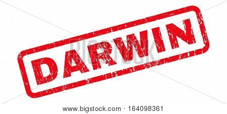 Darwin text rubber seal stamp watermark. Tag inside rounded rectangular shape with grunge design and dirty texture. Slanted glyph red ink emblem on a white background.