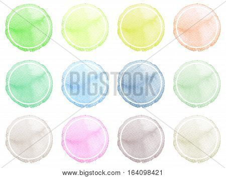 Watercolor Illustration For Artistic Design. Round Stains, Blobs Of Blue, Red, Green, Brown Color