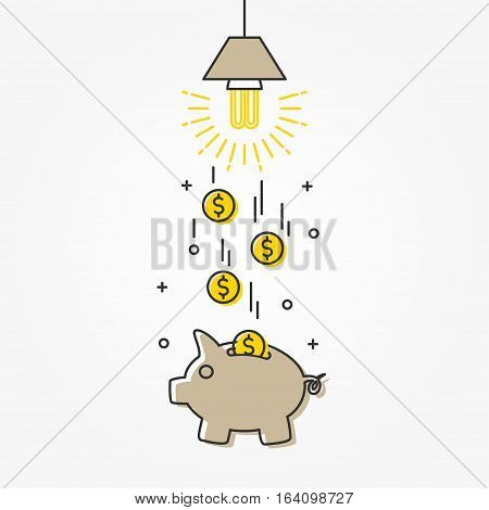 Energy saving lamp vector illustration. The lamp saves money creative concept.