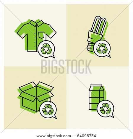 Goods with recyclable signs vector illustration. Clothes energy-saving lamp package box cardboard package elements with recyclable labels.