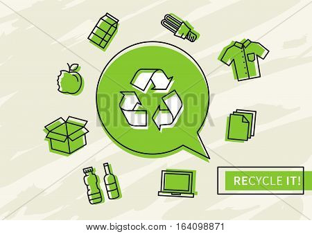 Recycle it vector illustration. Recyclable things creative concept