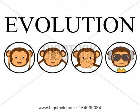 Evolution monkey. Funny vector illustration. Humor graphic.