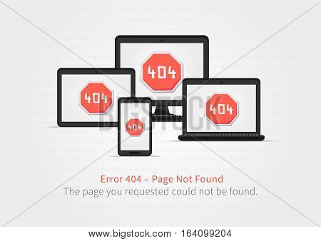 Error 404 page layout vector design. Website 404 page creative concept with electronic devices. 404 web page error creative design.