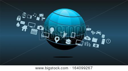 Information technology or technology innovation abstract background. IoT.