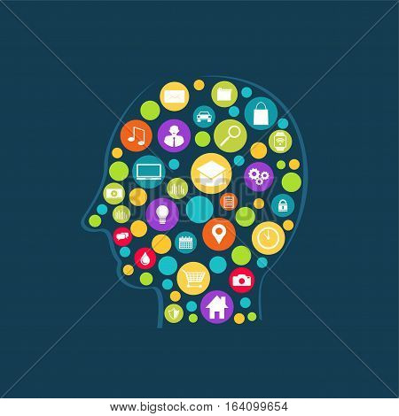 Human brain technology abstract. Technology innovation concept