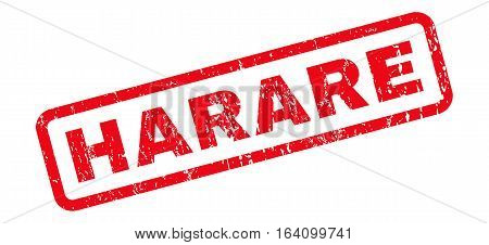 Harare text rubber seal stamp watermark. Tag inside rounded rectangular shape with grunge design and dirty texture. Slanted glyph red ink sign on a white background.