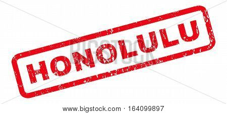 Honolulu text rubber seal stamp watermark. Tag inside rounded rectangular banner with grunge design and dust texture. Slanted glyph red ink sticker on a white background.