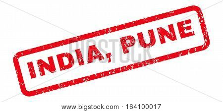 India Pune text rubber seal stamp watermark. Caption inside rounded rectangular shape with grunge design and unclean texture. Slanted glyph red ink sign on a white background.