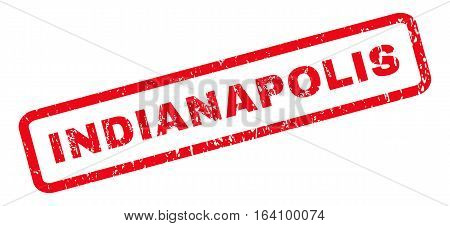Indianapolis text rubber seal stamp watermark. Caption inside rounded rectangular banner with grunge design and dirty texture. Slanted glyph red ink sign on a white background.