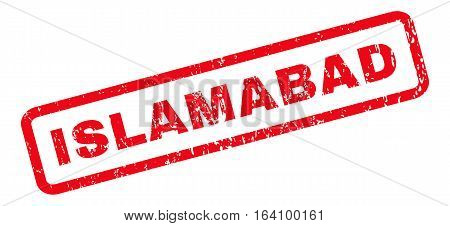 Islamabad text rubber seal stamp watermark. Caption inside rounded rectangular banner with grunge design and unclean texture. Slanted glyph red ink sign on a white background.