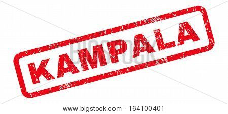 Kampala text rubber seal stamp watermark. Tag inside rounded rectangular banner with grunge design and unclean texture. Slanted glyph red ink emblem on a white background.