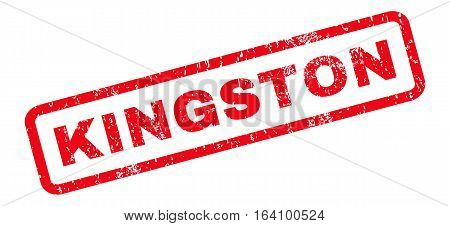 Kingston text rubber seal stamp watermark. Tag inside rounded rectangular banner with grunge design and dust texture. Slanted glyph red ink sign on a white background.