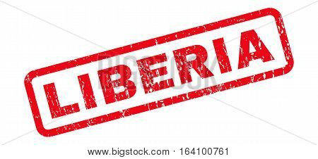 Liberia text rubber seal stamp watermark. Tag inside rounded rectangular banner with grunge design and scratched texture. Slanted glyph red ink sign on a white background.