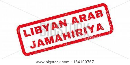 Libyan Arab Jamahiriya text rubber seal stamp watermark. Tag inside rounded rectangular banner with grunge design and unclean texture. Slanted glyph red ink sticker on a white background.