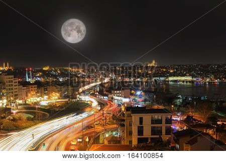 Istanbul City Skyline At Night