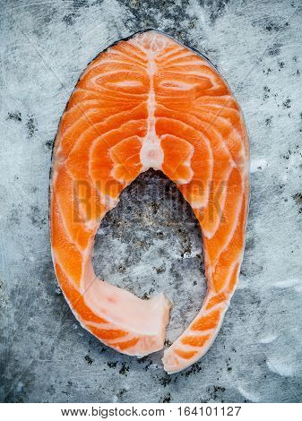 Closeup Fresh Salmon Fillet Sliced Flat Lay On Shabby Metal Background Propose For Cooking Salmon St