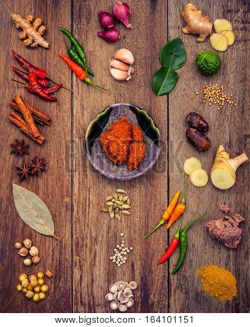Various Of Thai Food Cooking Ingredients And Spice Red Curry Paste Ingredient Of Thai Popular Food O