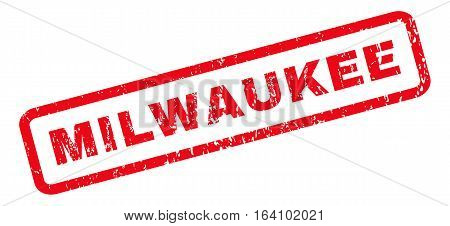 Milwaukee text rubber seal stamp watermark. Caption inside rounded rectangular shape with grunge design and dirty texture. Slanted glyph red ink sign on a white background.