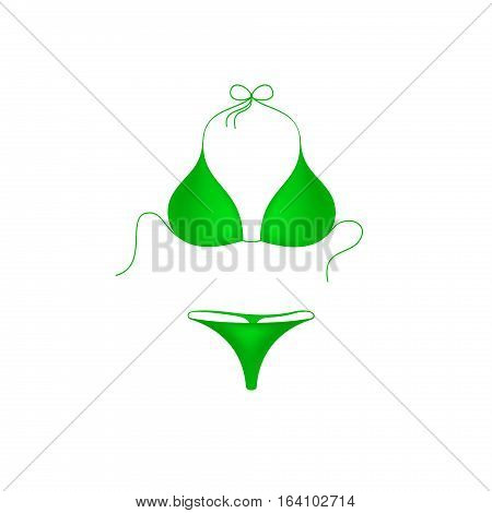 Bikini suit in green design on white background