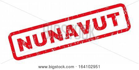 Nunavut text rubber seal stamp watermark. Tag inside rounded rectangular banner with grunge design and dirty texture. Slanted glyph red ink emblem on a white background.