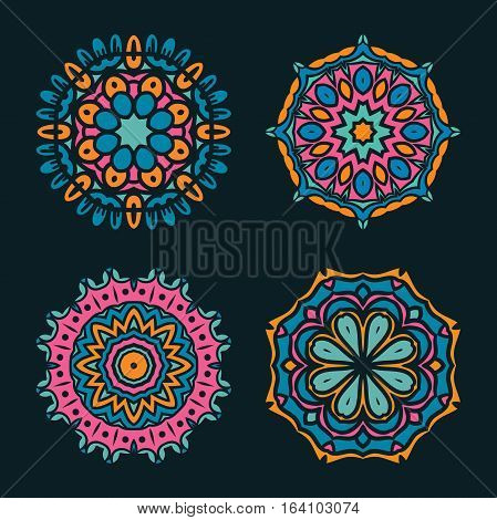 Set of vector mandala ornaments. Islam, Arabic, Indian, ottoman motifs. Vintage decorative elements. Kit of nine colorful pattern for registration of your business, invitations, booklets. Kaleidoscope